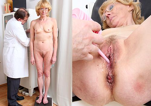A gorgeous golden haired mature Anna, visited the clinic for a gyno checkup