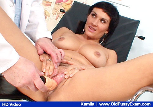 Busty Brunette Spreads Legs and Toys herself in addition to Physician and Adult-toys