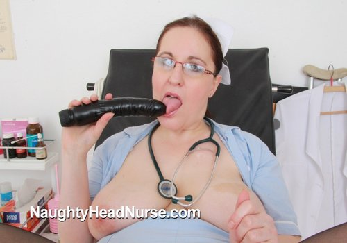 Nurse practitioner Dorotha inspects than dildoes her shag cunny