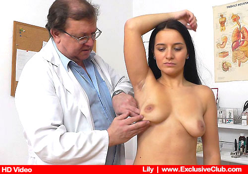 The clinician examines Lily's body
