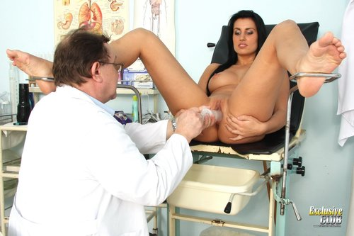Thin Brunette with Small Tits Fingered by Doctor and Fucks Dildos